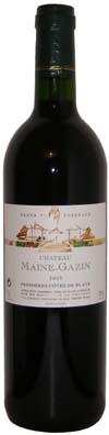 Blaye, Côtes de Bordeaux Chateau Maine Gazin avec comme millésime 2009